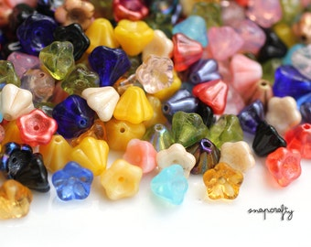 25pc MIX czech glass bell flower beads / mixed colorful flower bead sampler / brightly colored glass flower beads / 6x8mm bell flowers