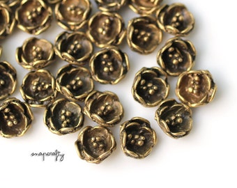 6pc cupped flower embellishments / antique brass /  lead-free, nickel-free