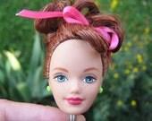 Freckled, Dark Redhead Doll Head Keychain