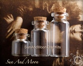 10 Large Clear Glass Vials With Corks~10 Loop Screws, 50mm Tall x 22mm~Perfect For Your Little Treasures And Keepsakes-DIY-Crafting Jar