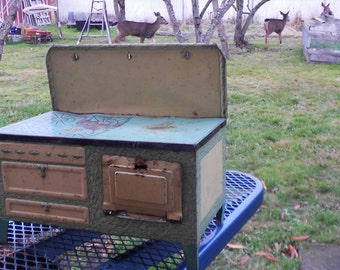 ANTIQUE TOY STOVE, painted tin, metal, play oven, rusty, shabby, fun decor