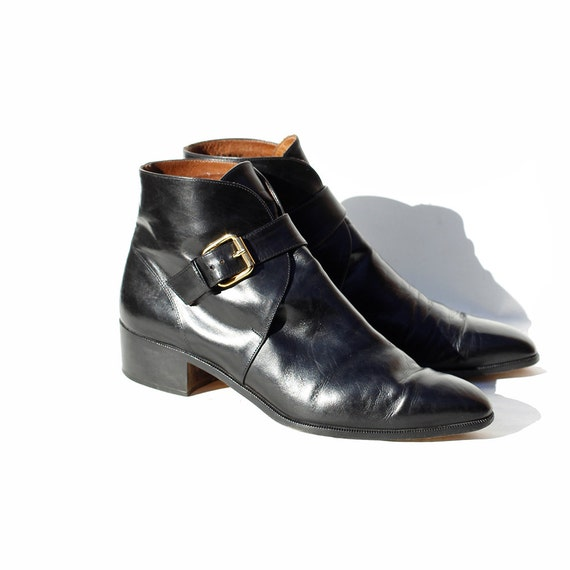 size 8 italian black leather ankle boots by