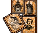 Halloween Bat Lady Tags, Edgar Allan Poe, Raven Gift Tag,  Assorted Halloween Tags, Spooky Tags, Witch on Broom, Bat Lady Halloween Tag