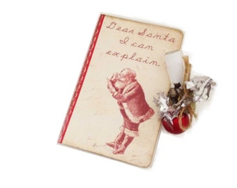 Santa Explain Journal, Christmas Journal,  Holiday Diary,  Santa Claus Journal, Stocking stuffer, Dear Santa, Party Favor, Christmas Planner