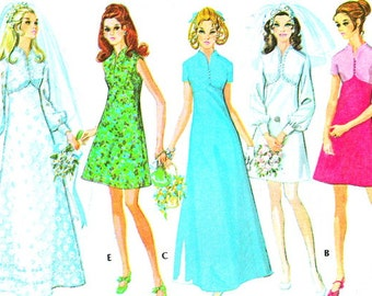 Wedding Dress Pattern McCalls 2376 Empire Waist A Line Wedding Gown Bridesmaid Dress Womens 1970s Vintage Sewing Pattern Bust 38