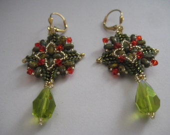 Super Square Earrings in Hyacinth and Olive designed Ellad2 Made by ME