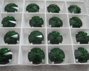 Lot of 3 12mm Dark Moss Green Rivoli Shaped Swarovski Rhinestones in Sew on Settings