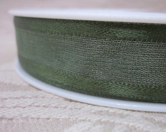 25 metres Satin Edged Dark Green Organza Ribbon
