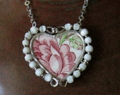 """Vintage Broken China Ceramic Shard Necklace, Sterling Silver, Mother of Pearl Beads, Lovely """"Rose Chintz""""  Pattern Heart"""