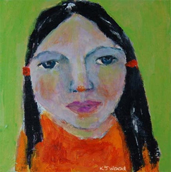 Acrylic Portrait Painting Betsy, Orange, Lime Green, Girl, Face, Black Hair, Ponytails, Pink, 6x6 canvas panel