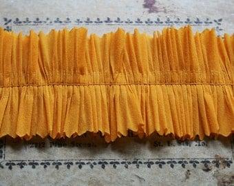 Vintage Crepe Paper Ruffles Sunflower Yellow - 2 Inch Vintage Dennison Handmade Ruffle Trim -  2 Inches Wide - Gold Paper Garland Supplies