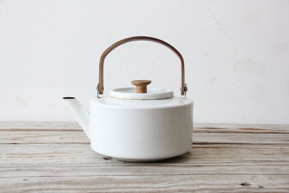 White Copco Enamel Tea Kettle