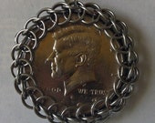 Chainmaille Wrapped 50 Cent Piece Pendant