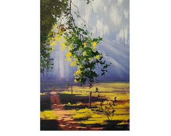 Large FOREST SUN RAYS Morning Light  Oil Painting by Graham gercken