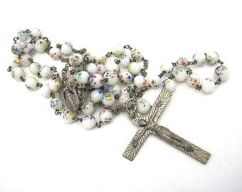 French Millefiori Rosary - Artist Crucifix - J. Lambert Rucki