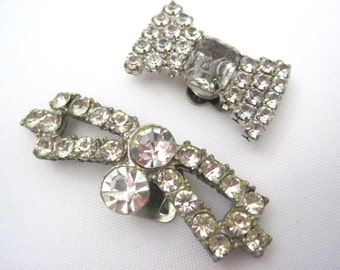 Vintage Bow Shoe Clips - Rhinestone Bow Jewelry