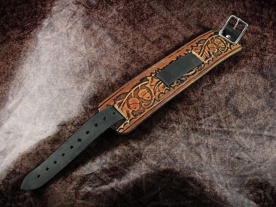 Leather Watch Cuff - The Burnt Oak and Acorn