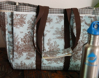 Turquoise and Brown Country Toile Travel, Garden, Craft, Knitting Tote Bag, Also Great Diaper Bag