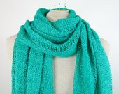 Knit Shawl or Scarf - Turquoise Vegan Wrap in Fine Acrylic Boucle - Item 1129