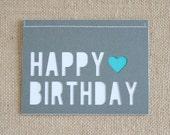 Happy Birthday / Heart / Grey / A6