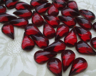 6 Vintage 13x7.8mm Ruby Red Pear/Teardrop Gold Foiled Flat Back Glass Bombe Cabs or Jewels