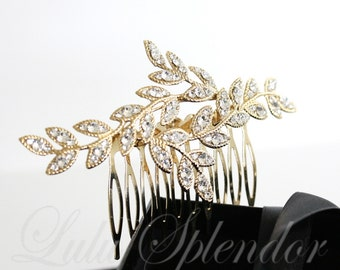 Gold Bridal Hair Comb Leaf Bridal Hair Jewelry Crystal Leaves Vintage Comb Hair Piece Wedding Hair Accessory NEVE CLASSIC