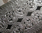 Dresden Trim Made In Germany Silver Extra Wide Embossed Fancy Paper Dresden Trim