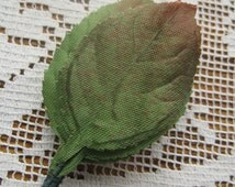 Millinery Leaves 10 Small Green Ombre Fabric Rose Leaves Czech Republic