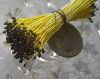 Millinery Flower Stamen Made In Germany Flower Peps 100 Stems Yellow And Brown MNG P 3A