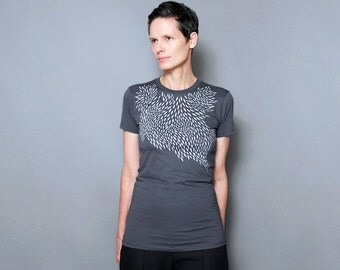 Asphalt Gray Womens T shirt with Modern Geometric Design -  Geometric Silver Feather
