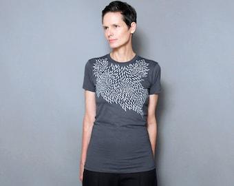Women's graphic tee, women's t shirt, geometrical design screen print -  Geometric Silver Feather