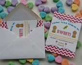 Candy Love is Sweet Valentine's Day Card Class Valentines Set of 16