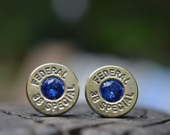 Bullet Earrings stud or post steampunk, nickel silver Federal .38 special with Swarovski September sapphire birthstone crystals