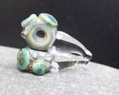MruMru handmade lampwork beads, earring pair set.   Boro ORGANIC murrini rain drops.  Sra