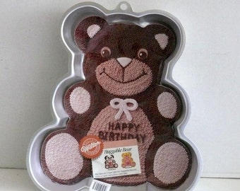 Wilton Teddy Bear Cake Pan -1982 -  Huggable Bear - Happy Birthday