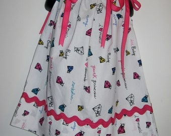 UPCYCLED PILLOWCASE dress 18 1/2 inches long sizes 18M to 2T