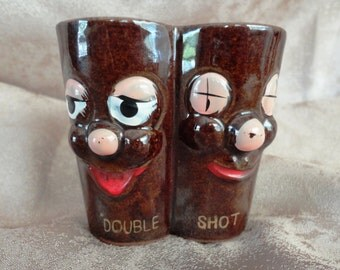 Anthromorphic Double Shot Comical Vintage Shot Glass
