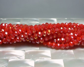 6mm Beads, Opaque Ruby OrangeAB  beads, Rondelle beads, Chinese glass Crystal, 50 pc Strand