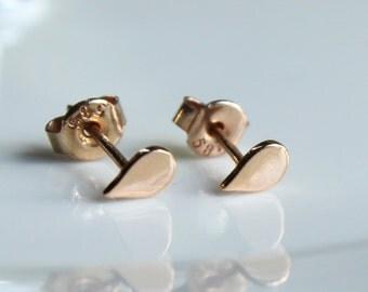 Raindrop Jewelry 14k Solid Rose Gold Teardrop Rain Stud Earrings Tiny Dainty Simple