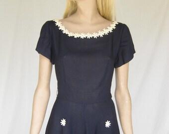 Vintage 40s/ 1940s Navy Blue Linen Swing Dress