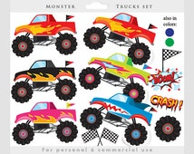Monster trucks clipart - trucks clip art, pink, blue, fire, red, boys, digital clip art, instant download, for personal and commercial use
