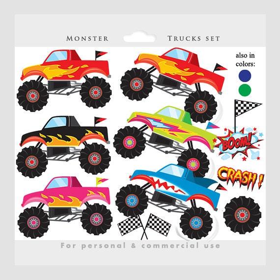 monster trucks clipart trucks clip art pink blue fire etsy rh etsy com monster truck clipart png monster truck clip art free for birthdays