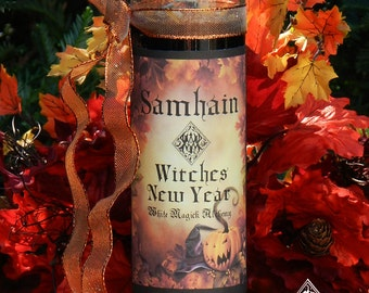 Witches New Year Glass Vigil Candle . Samhain, Halloween, Ancestral Workings, New Beginnings, Witches New Year