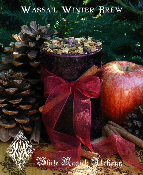 Wassail Winter Brew . Twelfth Night Holiday Pillar Candle 2x3 . Warm ...