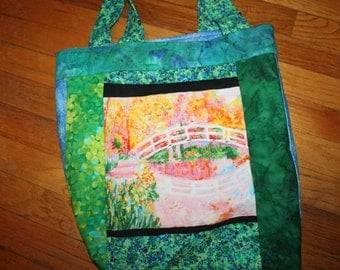 Monet Impressionist Painting Cotton Shoulder Bag