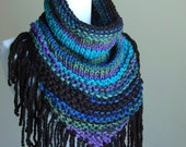 Knit Fringed Cowl Scarf in Black Blue Purple, Chunky Scarf Cowl, Triangle Scarf, Circle Scarf, Over Sized Cowl, Women's Winter Scarf,