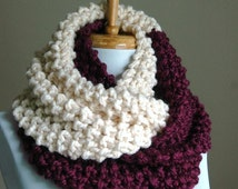 Purple Berry and Cream Colorblock Knit Scarf Chunky Scarf Hand Knit Infinity Scarf Women Scarves Knitted Neckwarmer