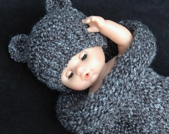 Charcoal Gray Knit Newborn Cocoon and Bear Hat Set, Newborn Photo Prop for Baby Boy or Baby Girl, Knit Baby Set, Chunky Knitted Bear Set