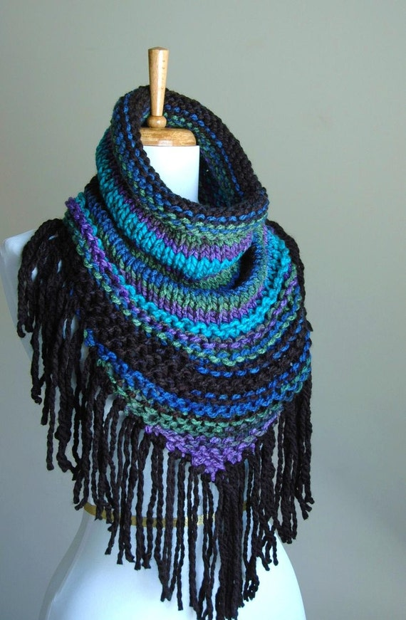 Knit Fringed Cowl Scarf In Black Blue Purple Chunky Scarf