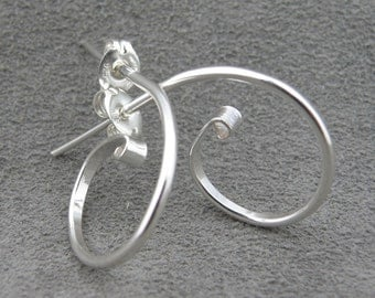 Silver Earrings - Hoops - Swirls